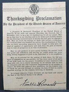 US-Newspaper-Thanksgiving-Proelamation-President-Franklin-Roosevelt-Lot-9012