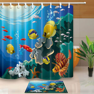 Image Is Loading Sea Life Colored Fish Coral Blue Bathroom Shower