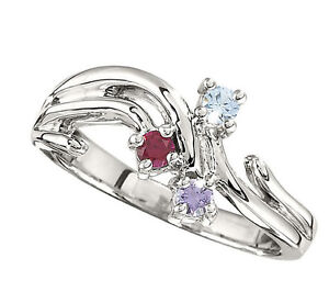Moms family Jewelry Ring Sterling SILVER Mother/'s Birthstone Ring 1-5 Stones