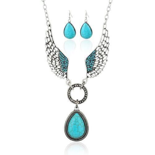 Bohemia Crystal Women Wings Chain Pendant Statement Bib Necklace Set Earrings