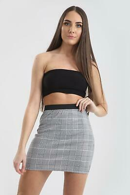Womens Ladies Hounds Dog Tooth Mono Chrome Stretchy Belted Paper Bag Mini Skirt