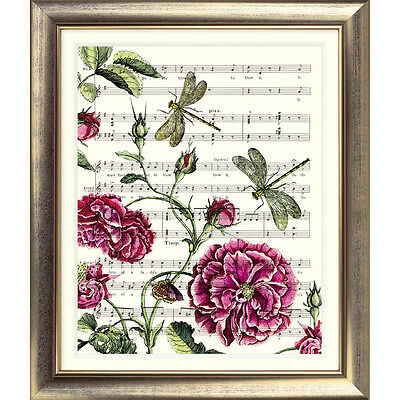 ART PRINT ORIGINAL VINTAGE MUSIC SHEET Page ROSE Flower Garden DRAGONFLY Picture