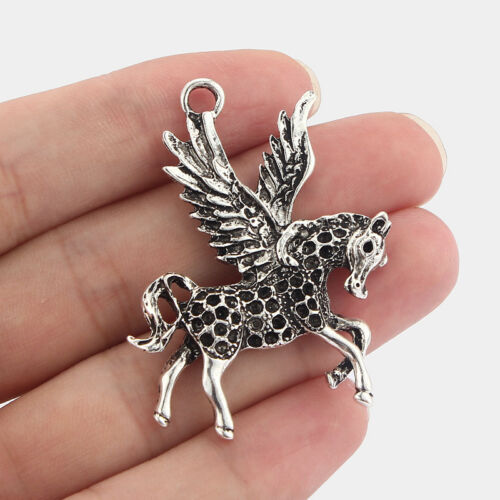 5 x Antique Silver Winged Flying Horse Pegasus Charms Pendants 49x37mm