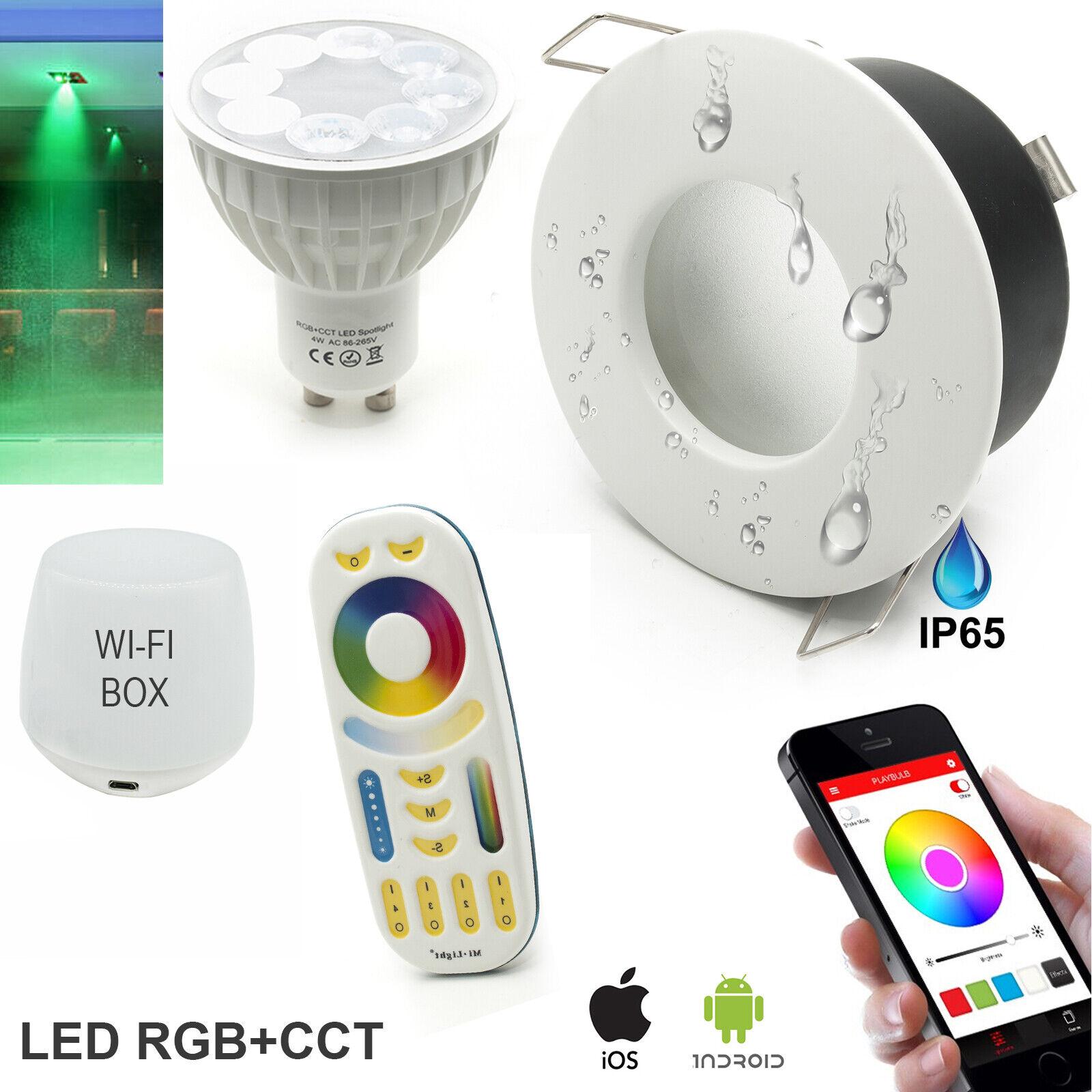 Kit 2 faretti incasso box doccia bagno IP65 SMART LED RGB+CCT wifi Android iOS