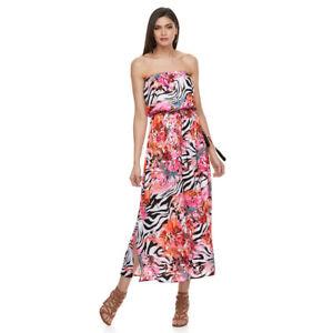 7368c11a4c5 Details about Jennifer Lopez Women's Zebra-Print Strapless Maxi Dress Size  Small - NWT