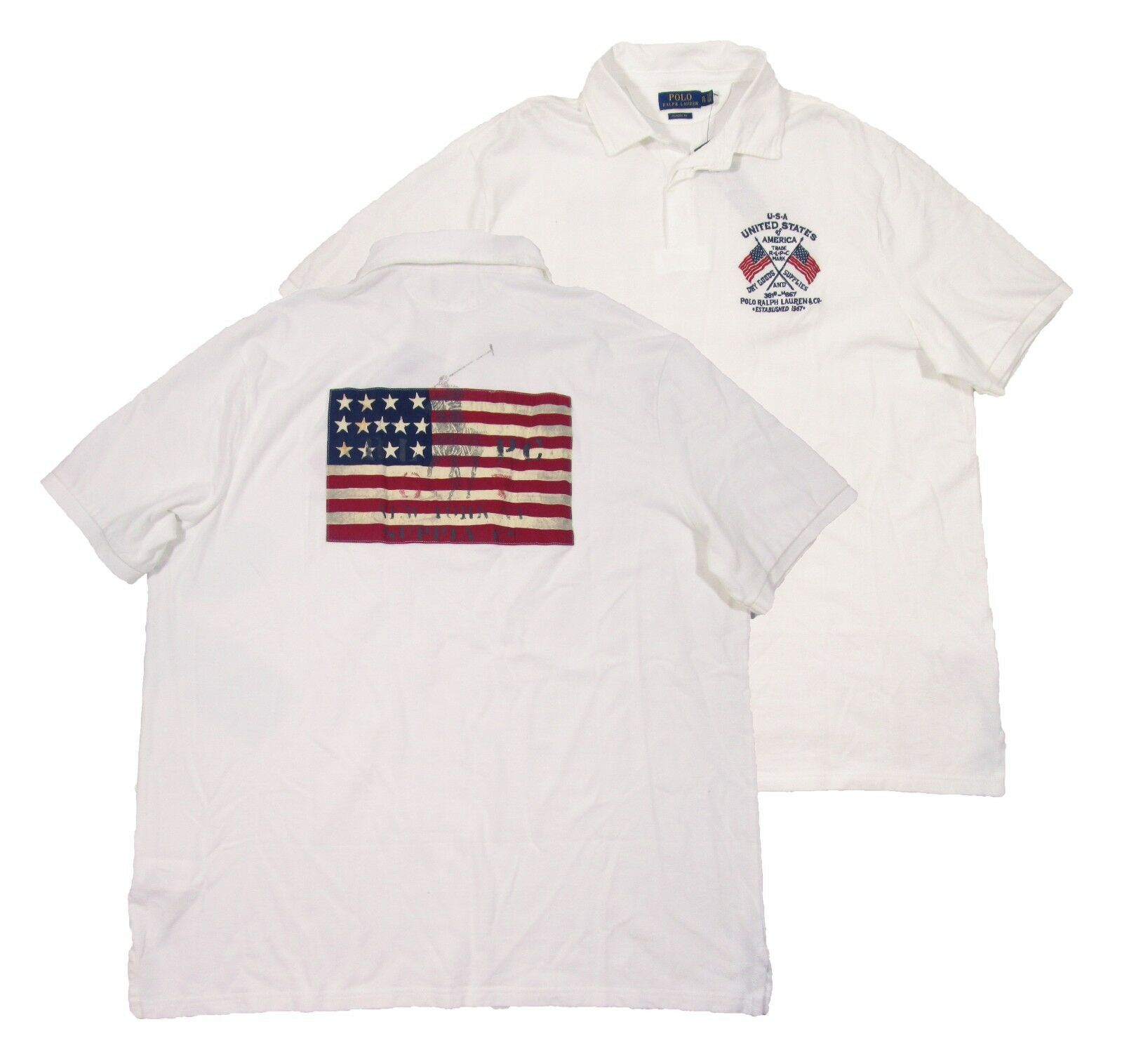 Polo Ralph Lauren Men's White Flag Patch Rugby Classic Fit Polo Shirt