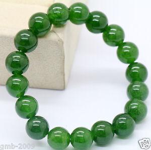 New-Handmade-10mm-Green-Emerald-Round-Gemstone-Beads-Stretchy-Bangle-Bracelet