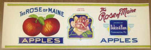 VINTAGE CAN LABEL C1920S THE ROSE OF MAINE FARMINGTON MAINE EXTRA LARGE ORIGINAL