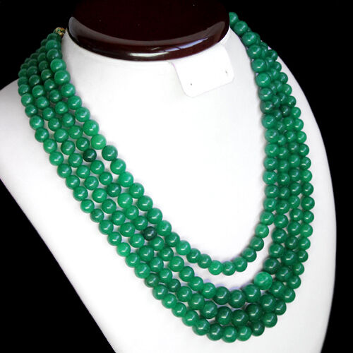 WORLD CLASS RARE 996.00 CTS NATURAL 4 STRAND GREEN EMERALD ROUND BEADS NECKLACE