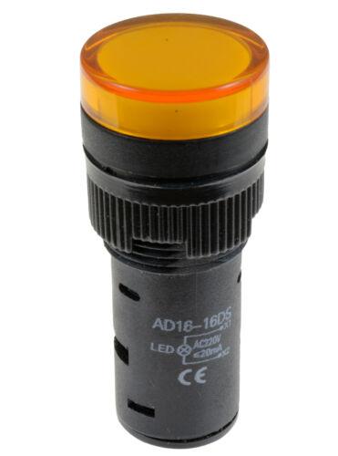 Yellow Pilot Light LED 16mm Indicator Warning Lamp Panel Mounting 220V