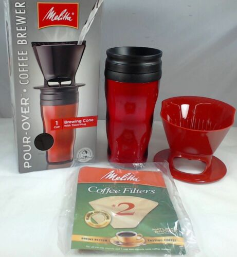1 Cup Coffee Brewer with Travel Mug Red Melitta 64014