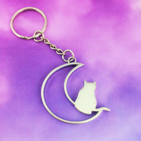 Affidabile Cat E Moon Portachiavi Keyring Bag Purse Zipper Ciondolo Accessorio Uomo Donna Regalo Lussuoso Nel Design