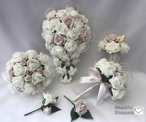 Bride Wedding Flowers Ivory Rose corsage Bouquet Flower-Girl Wand Bridesmaid