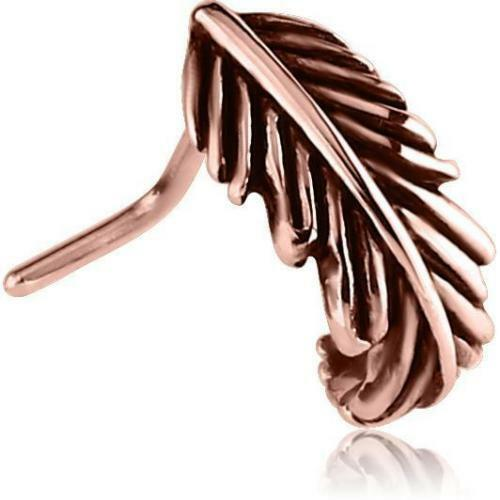 Rose Gold Feather Ion Plated Surgical Steel Bend Nose Hugger Nose Stud Ring 20G
