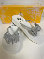 Yellow Box Toon White W/ Silver Rhinestoned 1 1/4 Wedge Flip Flops W/ Cute Bow