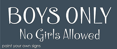 Joanie Stencil Girls Only No Boys Allowed Bedroom Play Treehouse Craft signs