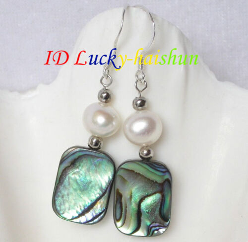 Dangle Multicolor Abalone shell white pearl Earrings j6529
