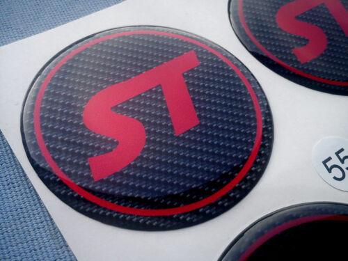 4x ST Rot Embleme für Nabenkappen Felgendeckel 55mm Silikon Aufkleber ST54CR