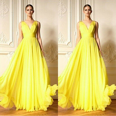 Fancy Women Evening Gown Formal Prom Ball Cocktail Party Maxi Long Chiffon Dress
