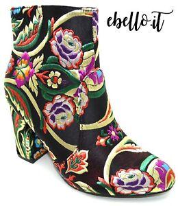 c3270d364818 Caricamento dell'immagine in corso Stivaletti-tronchetti-scarpe-donna-con- ricamo-floreale-stivali-