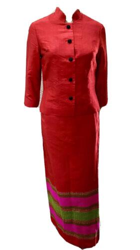 VTG Star of Siam Handwoven Red Silk Shantung 2 Pc