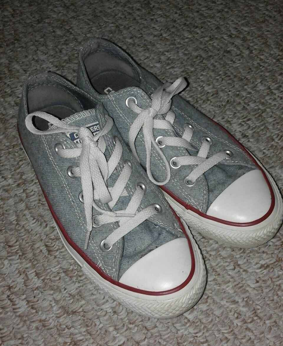 Converse Light Bleu Pâle Blanc Rouge Tuyauterie Chuck Taylor All Star Baskets Taille 4