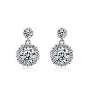Women-039-s-Fashion-Jewelry-925-Sterling-Silver-Round-Zircon-Stud-Drop-Earrings