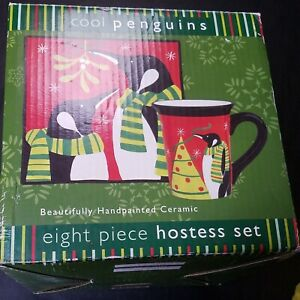 8-Peice-Hostess-Set-Ceramic-Plates-amp-Mugs-Hand-Painted-Peguins-Christmas