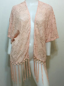 LACE SHEER CARDIGAN FRINGE TOP BOHO URBAN RETRO HIPPIE GYPSY ANTHROPOLOGIE S