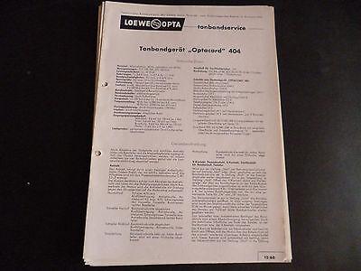 Anleitungen & Schaltbilder Zielsetzung Original Service Manual Loewe Opta Tonbandgerät Optacord 404 Komplette Artikelauswahl