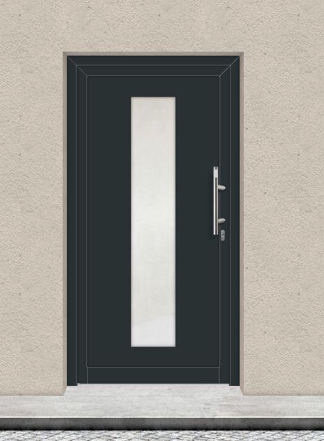 Haustürfüllung Zentra, Farbe anthrazit / weiß, Glas Satinato Füllung Türfüllung