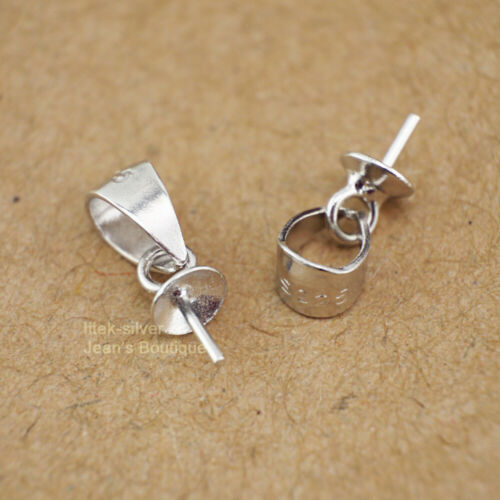 2pcs 925 Sterling Silver DIY Pearl Cup Cap Bail Pin Pendant Connector A2230
