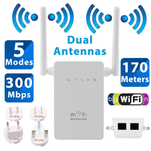 2.4G 300Mbps Wifi Repeater Wireless Range Extender Signal Booster Network Router