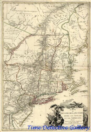 """Revolutionary War /""""Theater Battle/"""" Map U.S Poster in 5 Sizes 1779"""
