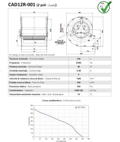 ricambio x RAVELLI Kristina Cora Snella R120 Ventilatore centrifugo 90 Watt