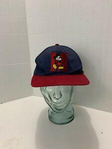 Vintage-90s-Walt-Disney-World-Mickey-Mouse-Navy-Hat-Used-Snap-Back-Cap