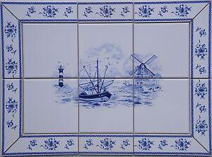 fliesen bild nach delfter art dekor 15x15 blau wei mit. Black Bedroom Furniture Sets. Home Design Ideas
