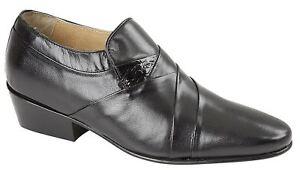 a264dcbf70b Details about Mens Leather Sole Shoes Cuban Heel Slip On Smart Formal Dress  Size