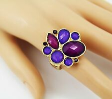 Style & Co. Gold-Tone Purple Stone Teardrop Stretch Ring