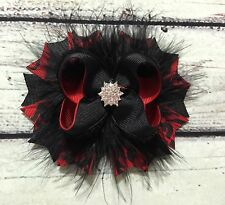 Handmade Christmas Red And Black Stacked Boutique Hair Bows