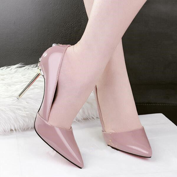 court schuhe Sandales stiletto 10.5 cm elegant lilac shiny like Leder CW730