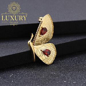 Natural-Garnet-925-Sterling-Silver-Handmade-Brooch-Gold-Helf-Butterfly-Pendant