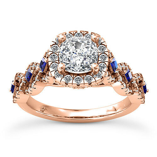 Pave Double Halo 1 5 Ct Cushion Cut Diamond Engagement Ring Rose