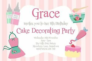 Details About 10 PERSONALISED CAKE DECORATING BAKING PARTY INVITATIONS