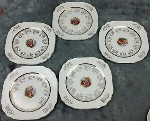 5-Vtg-ROYAL-CHINA-Salad-Plates-22-K-Gold-Ivory-Shabby-Chic-Wedding-SPd