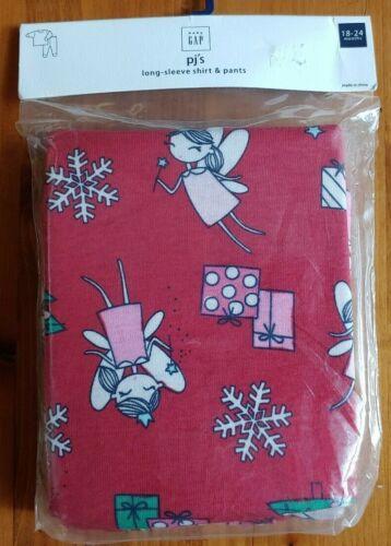 Baby GAP Girls Pajama Set Holiday Fairies Red Long Sleeve Shirt Pants 18-24 mos