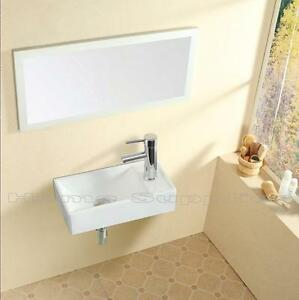 Small Bathroom Sink Rectangle Wall Mount Cloakroom Hand