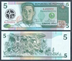 Philippines-5-Piso-Commemorative-1991-UNC-AJ-002932-Low-Number