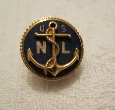 USNL Navy League Anchor Lapel Tie Hat Tac Membership 1 tenth Gold Filled Blue