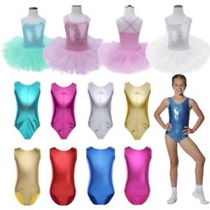 ab4ecafcd Girl Kids Shiny Metallic Leotard Gymnastics Tank Top Ballet ...